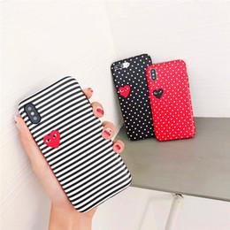 Housses pour iphone blanc en Ligne-Coque de style Designer Striped Dot Love Pattern Phone Cover pour IPhone XS MAX XR XS 7PLUS 8PLUS 7 8 6P 6SP 6 6S Noir Rouge Blanc Cas
