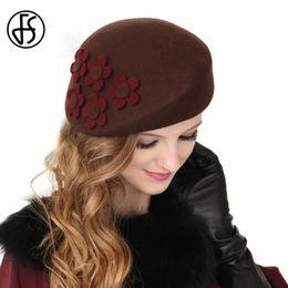 1115dd2abd063c FS Winter Schwarz Braun 100% Australien Wolle Französisch Beret Hüte Fedora  Vintage Blume Frauen Filz Pillbox Hut Caps Damen Party Hüte