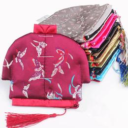 Маленький китайский шелковый монетный кошелек онлайн-Китайский стиль кисточкой небольшой Zip мешок Рождество портмоне партия выступает мода ремесло шелк парчи ювелирные изделия сумка подарочная упаковка сумки 10 шт. / лот