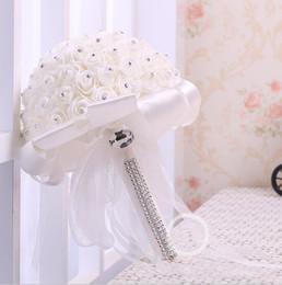 Wholesale cheap red bridal bouquets - Best Ivory New Bridesmaid Wedding Decoration Foamflowers Rose Bridal bouquet White Satin Romantic Wedding bouquet Cheap Price