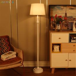 Wholesale Luxury Lighting Fixtures - European Luxury Pastoral Standing Floor Lamps Living Room Bedroom Study Room Art Fabric Shade Lantern LED Lights Fixtures