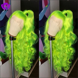 glueless wigs high density Coupons - Natural Long body wave free part Apple Green wig High Density Glueless Synthetic Lace Front Wigs for Women Party Makeup cosplay