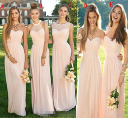 yellow chiffon lace prom dress Coupons - Pink Navy Cheap Long Bridesmaid Dresses 2019 Mixed Neckline Flow Chiffon Summer Blush Bridesmaid Formal Prom Party Dresses With Ruffles HY17