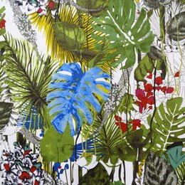 Pano de almofada de sofá on-line-Impressão Digital Multi cor Tropical Planta Cadeira De Veludo Estofamento Sofá Tecido Decorativo Poltrona Flor capa de Almofada Pano de 140 cm de largura