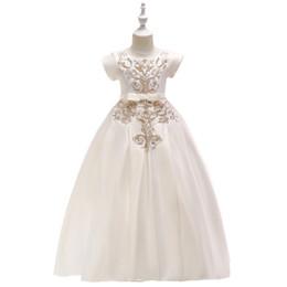 Белый пол длина детские платья онлайн-Детское платье Принцесса платье девушки белый длиной до пола платье с коротким рукавом вышитые свадебное платье длинный стиль моды для всех сезонов