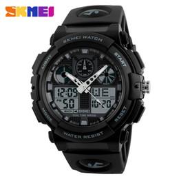 Wholesale Display Relojes - Wholesale-SKMEI Men Sport Watch Male Quartz Digital Clock Electronic Dual Display Wristwatches Relojes Watwrproof Relogio Masculino 1270