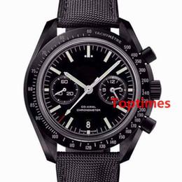 Wholesale Wristwatch Automatic Vintage - Men Watch Luxury Master MOONWATCH Black Coated Nylon Fabric Strap Foldover Clasp 44 MM Vintage Quartz Chronograph Speed Watches Wristwatch