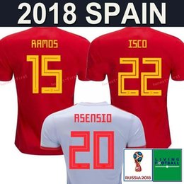 red spain uniform Promo Codes - Spain home red Soccer Jersey 2018 world cup Spain home soccer shirt 2018 #22 ISCO #20 ASENSIO #15 RAMOS Football uniforms sales size S-4XL