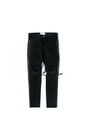 НОВЫЙ РЕТРО ДЕНИМ приталенные мужские дырки в стиле хлопок Джинсовые рваные классические стирки для нанесения старых повреждений рваные дыры черные джинсы M-XXL от