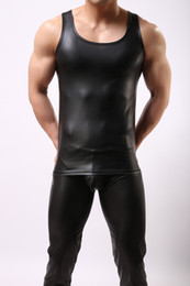 pu vest men Promo Codes - New Pu Leather O -Neck Men Tank Tops Sexy Sleeveless Shirts Men Imitatiion Faux Leather Vest For Casual Wear Black Cool Tops