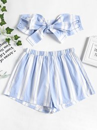 Wholesale Tube Dress Beach - ZAN.STYLE Stripe Bow Knot Tied Strapless Tube Top Elastic Shorts 2pc Sexy Women'S Set Summer Beach Suit Cropped Tops Mini Shorts