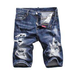 Argentina Pantalones cortos de mezclilla Jeans cortos de los hombres de lujo de la marca D2 para hombre Bolsillo de bolsillo de la cremallera de los pantalones vaqueros delgados mendigo insignia transpirable azul Suministro