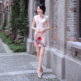 6f2c9d750f9 Shanghai Story Manches courtes Floral Qipao Robe Traditionnelle Chinoise en  Soie Imitation Chinoise Vêtements Genou Longueur Cheongsam