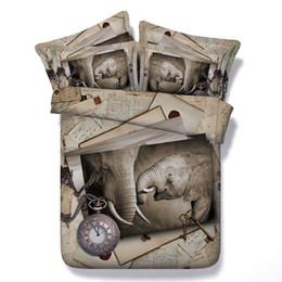 Edredón edredón para niñas online-Reloj 3D elefante Juegos de cama Funda nórdica colchas de animales Ropa de cama niños gemelos para niñas Edredones Fundas textiles para el hogar Almohadas