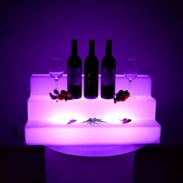 iluminação de prateleiras Desconto Cor da Mola à prova d 'água mutável LED Três Esteiras Barras Prateleiras Titular iluminado exibe garrafa de cerveja Titulares Atacado Bar Ferramentas