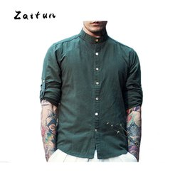 Wholesale Traditional Chinese Shirts Men - ZAITUN New Stylish Vintage Men Shirts Linen Cotton Long Sleeve Mandarin Collar Chinese Traditional Kung Fu Casual Social Shirt