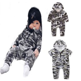 Wholesale New Fashion Camouflage Clothing - Baby Camouflage romper INS boys Hooded Jumpsuits 2018 new fashion Boutique kids Climbing clothes C3996
