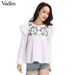 965550053976 Wholesale- Women sweet embroidery ruffles shirts long sleeve white blouse  back button ladies fashion streetwear tops blusas LT1595