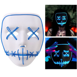 Wholesale Prop Lights - Halloween LED Ghost Mask Luminous Light Up Glowing EL Wire Festival Costume Party Props Funny Cosplay Masks @ZJF