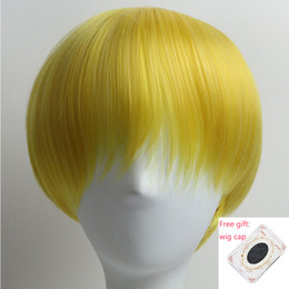 Wholesale Yellow Cosplay Wig Short - Yellow Color Synthetic Hair Wigs Short Straight Full Head Wigs Heat Resistant Hair 150% Density Daily Party Cosplay Wigs for Women Men