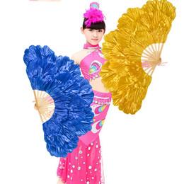 Abanicos abiertos online-Ventilador plegable para mujeres que realiza accesorios de dos caras flor de peonía abanico gran apertura Suministros de baile tres capas 18sy2 Ww