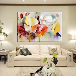 2019 papaveri fiori dipinti Dipinto a mano su tela di canapa di fiori dipinti ad acquerello moderno della parete della pittura della parete per il regalo della decorazione domestica del salone papaveri fiori dipinti economici