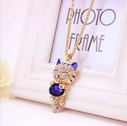 Wholesale wholesale luxury sweaters - Lucky Cat Long luxury Necklace - Crystal Rhinestone Pendant necklaces Womens designer jewelry Gold Tone Sweater Chain bijoux