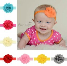 Wholesale shabby hair - Infants Fashion Headbands Baby Girl Shabby Flowers Hair Accessories Childrens Boutique Yarn Hair bands Headwear 12 Colors
