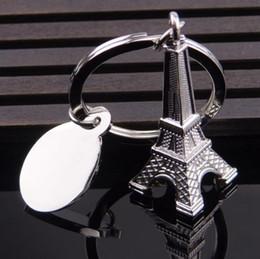 Wholesale Paris Souvenirs - Silver Eiffel Tower Keychain Paris Tour Eiffel Keyring French Souvenir Model Pendant Key Chain 50pcs OOA4607