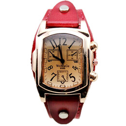 Wholesale Vintage Red Rose Bracelet - Brand Womage Luxury dress Lady watches Fashion Rose Gold Square Head Quartz Women Bracelet Watches Men Vintage Relogio masculino