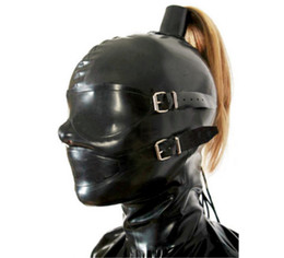 Wholesale Bdsm Blindfolds - Erotic Sex BDSM Bondage SM Rubber Mask with Wig Fetish Hood with Removing Blindfold and Mouth cosplay