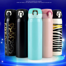 Wholesale Stainless Steel Bottle Print - Stainless Steel Bounce Bottle Zebra Leopard Printed Vacuum Thermos Bottle Travel Outdoor Drinkware Coffee Cups LJJO4589
