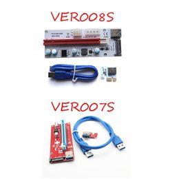 Wholesale Pci Sata Usb Card - New PCI-E VER 008S 007S VBitcoin Ver008S With LED VER007S 6 pin SATA Miner Riser Express 1X 16X Graphics Card USB 3.0 Power Supply