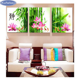 Wholesale Wall Art Triptych - Full Diamond Embroidery 5D Diamond Painting Cross Stitch 3D Diy Diamond Mosaic chinese lotus flower paintings triptych wall arts