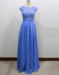 Wholesale yellow wedding party favors - Scoop Neck Lace Chiffon Bridesmaid Dress with Open Back 2018 Floor Length Party Dresses New Personalized Wedding Favors