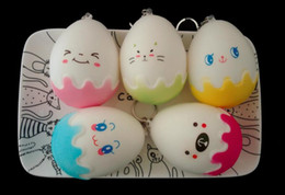 Wholesale Egg Squishy - 8cm Squishy Egg Slow Rising Cute PU Decompression Bread Cute Cake Phone Straps Sweet Food Scented Phone Pendant Key Chain Toy Gift