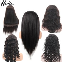 Wholesale Virgin Hot Full - Hot selling lace frontal Wig full lace wig brazilian virgin human hair wigs for African black women Free Shipping