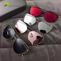 Wholesale Vintage Rose Mirror - 2017 New Fashion Cat eye Sunglasses Women Brand Designer Mirrored Flat lens Rose Gold Vintage Cateye Sun Glasses for Women