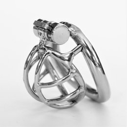 Wholesale Mens Chastity Cages - Arc Shape Male Chastity Devices Metal Mens Super Small Cock Cage Stainless Steel Penis Restraints Locking Cock Ring BDSM Bondage
