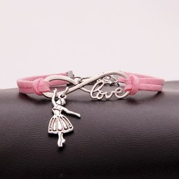 cadeaux pour des ballerines Promotion AFSHOR Hot Fashion Antique Silver Ballerina Girl Charm Small Pendant Infinity Love Leather Dance Bracelets Lovely Women Jewelry Unique Gifts