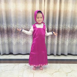 Wholesale girls ethnic dresses - Baby Girls Ethnic Clothing Satin Russia Cosplay Costume Dress Hooded Cartoon Fashion Kids Cute Clothes Children Cosplay Costume