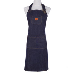 Wholesale cooking works - Hot Kitchen Denim Work Apron Unisex For Cooking Apron For Woman Man Cowboy Antifouling Chef Cooking Pinafore Delantal Tablier