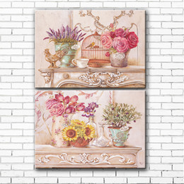 Wholesale Art Oil Canvas Bird - pastoral pink flowers bird cage canvas printings oil painting printed on canvas home living room wall art decoration picture