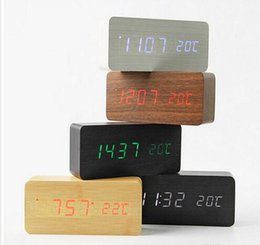 Wholesale Old Wooden - Wooden LED Alarm Clock with Old Style Temperature Sounds Control Calendar LED Display Electronic Desktop Digital Table Clocks factory Outlet