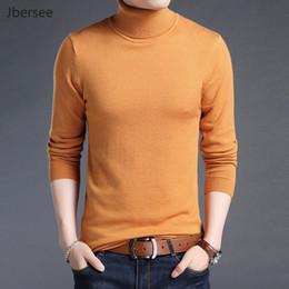 Wholesale Mens Thin Turtleneck - Jbersee Autumn Fashion Men's Sweaters Warm Turtleneck Slim Men Winter Sweater Brand 100% Cotton Mens Knitted Pullover Sweater