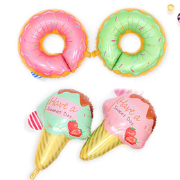 Wholesale Good Party Flowers - Good Quality Doughnut And Ice Cream Shape Metallic Balloons Birthday Party Decoration Articles Air Balloon Novelty Toys 1 8lb W
