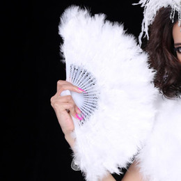 Wholesale Adult Wedding Dress Costumes - Wedding Accessories White stylish Soft Fluffy Wedding Hand Fan goose feather fan Dress Costume Dance props