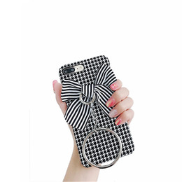 Wholesale Iphone Cases Bows - For iphone7plus 8plus Black and White Stitching Case,Unique Cloth Bow+TPU shell,Very Suitable for Your Personality