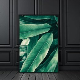 Wholesale Green Abstract Painting - Nordic Modern canvas 1 Panel Plant Wall Painting Art decoration for Home Office Decorations green Leaf canvas painting top sell
