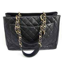Wholesale Black Wire Storage - Hot ~ luxury travel bag black shopping leather bag with chain fashion ladies cosmetic storage bag beach bags VIP gift